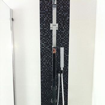 Slim square double head shower unit